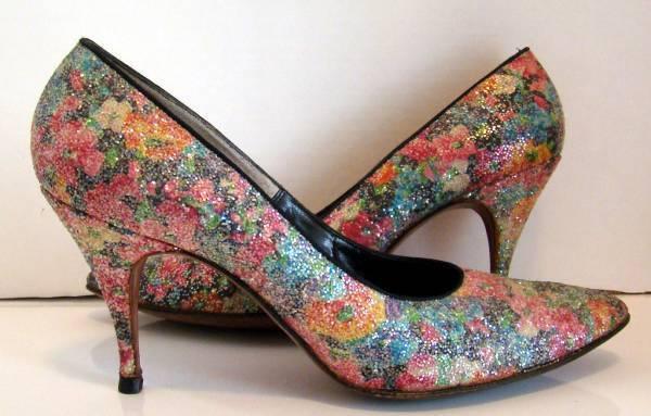 Cinquanta MultiColoreee Sparkle Floral Heels  Pump  Dimensione 8  vendite calde