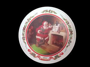 Coca-Cola  1980 Melamine Christmas Santa Plate- UNIQUE ITEM