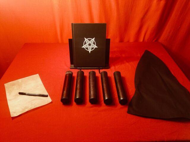 Devil Worshipping Kit: 5 Black Beeswax Candles, Hood, Goatskin & Satanic Book