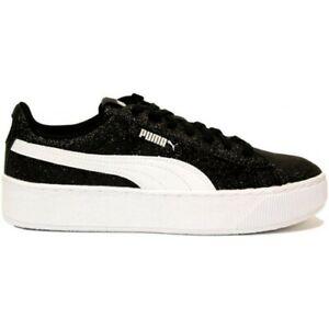 Dettagli su Scarpe da donna Puma Vikky Platform Glitz 366856 02 nero bianco sneaker sportiva
