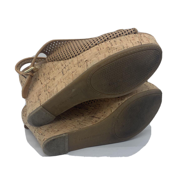 Tommy Hilfiger Size 8.5 M Tan Leather Cork Wedges - image 6