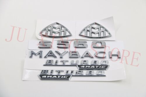 "Silver New Flat Badge Emblem /""2LOGO+MAYBACH+S560+BITURBO/"" for Mercedes-Benz S560"