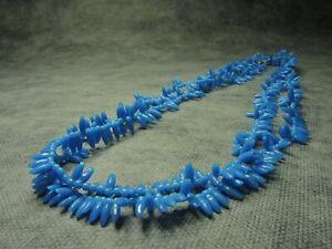 Vintage-Czech-Bohemian-Imitation-Coral-Blue-Glass-Beads-Necklace-LONG