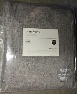2 West Elm Crossweave  drapes panels 48 84 charcoal gray blackout New with tag