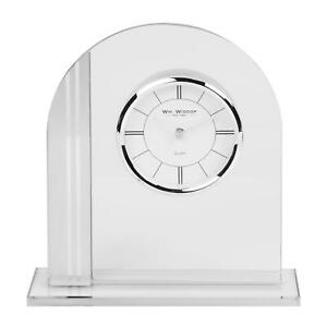 WILLIAM WIDDOP BLACK GLASS MANTEL CLOCK