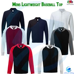 FRUIT OF THE LOOM Men/'s Base Ball Sweatshirt Full Zip Jacket Lightweight Top