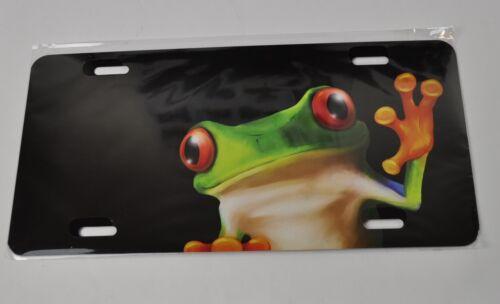 Bunter Frosch USA Auto Nummernschild License Plate Deko Frösche Blechschild sw