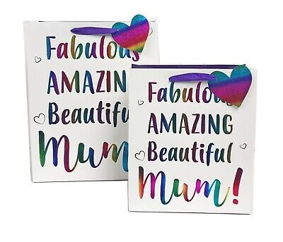 Mothers Day Gift Bag Mum Her Wrapping Large Medium Rainbow Foil Luxury+Tape