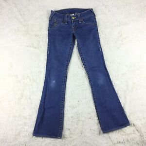 True Religion Womens Size 26 Flare Leg Blue Jeans Distressed Made In USA. E1