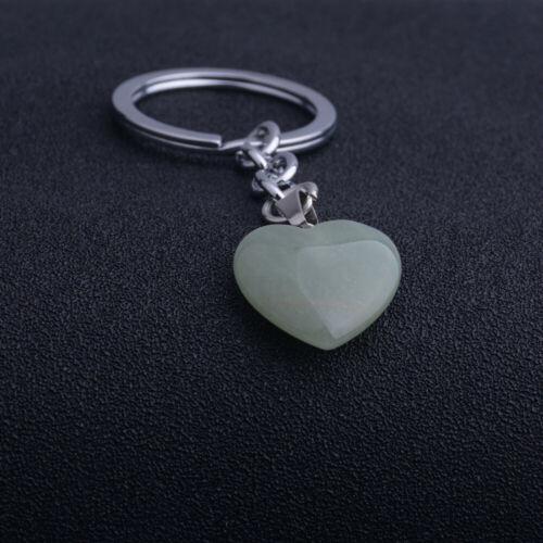 Heart Shaped Natural Stone Pendants Healing Chakra Reiki Keychain Keyring Charm
