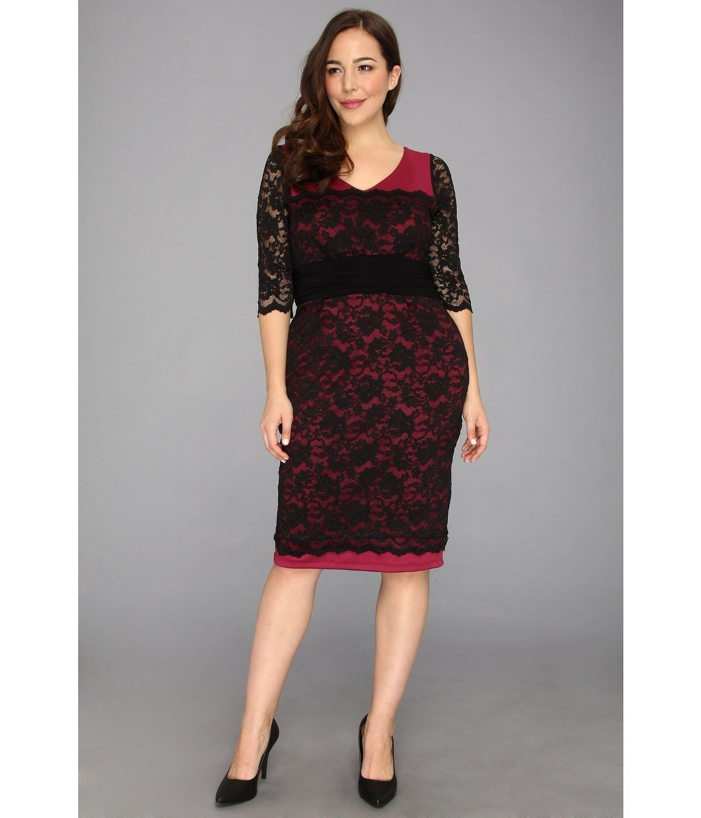 NWT Authentic Kiyonna RSVP Lace Dress in Berry, 2X