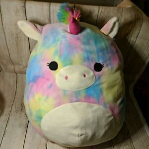 "JUMBO Unicorn Pegasus Squishmallow 20"" - Jaime - Tie Dye Kellytoy Jamie"