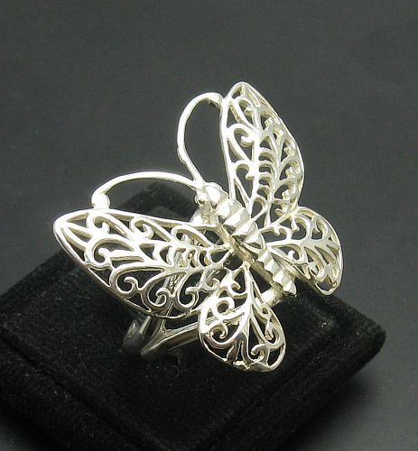 STERLING SILVER RING SOLID 925 BUTTERFLY FILIGREE NEW