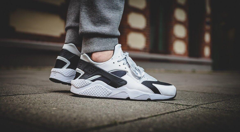 Nike air huarache correre classico scarpe nuove, bianco / nero 318429-104
