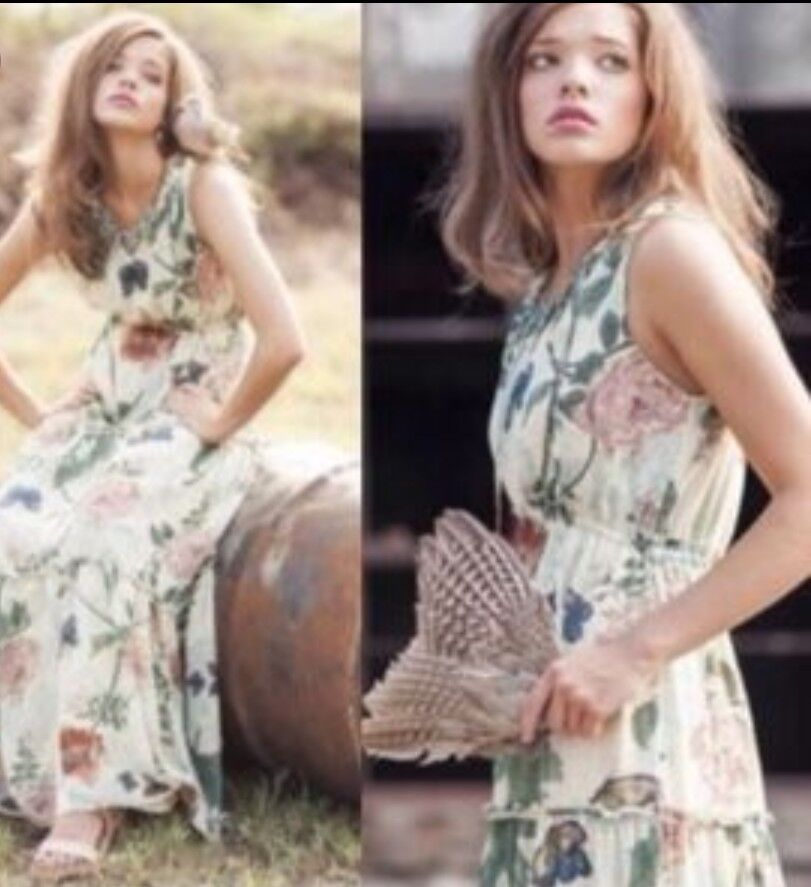 355227a6fc656 Anthropologie Maraville Butterfly Floral Tiered Maxi Dress 10 Maeve ...