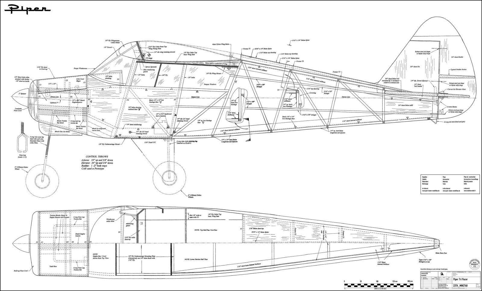 Piper pa-22 Tri-Pacer, Sport aereo  apertura 2030 mm . modello edifici RC