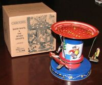 Christmas Carousel Winter Wonderland Classic Wind Up Tin Toy Brand