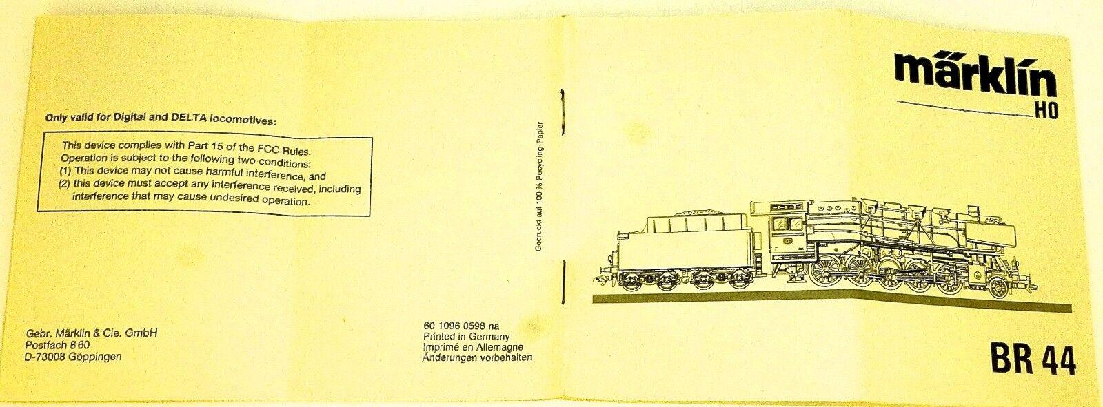 BR 44 Manual Märklin 60 1096 0598 NA H0 Å