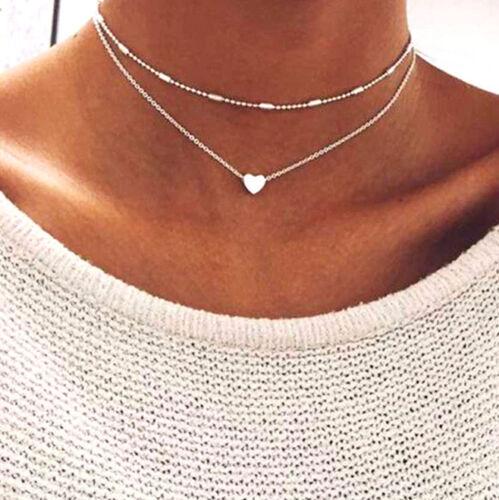 Anhänger Mehrschichtig Herz Halsband Silber Dünner Zierlicher Kurzen