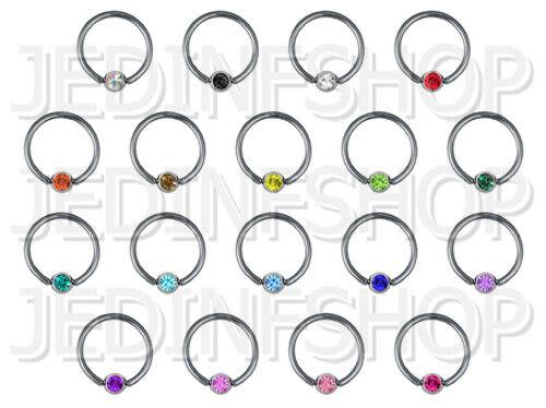 BCR Hoop Ball Closure Ring CBR1.6mm 14g 18 Colours - 16mmRotatable Gem