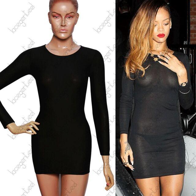 CELEB STYLE SEXY LONG SLEEVE FIT BLACK COTTON RIHANNA CASUAL SHORT MINI DRESS