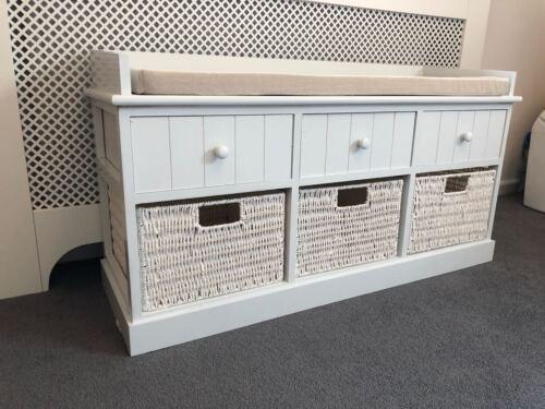 Blanc Simple Place Stockage Banc Mobilier Maison W//Tiroirs Paniers en Osier