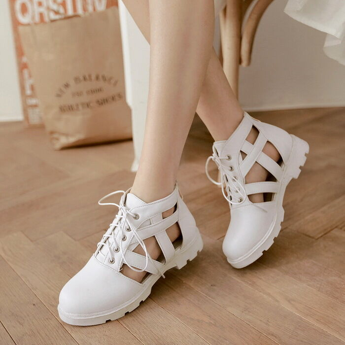 2016 Womens Girls Flat Heel Cut out Roma Summer Boots Sandals shoes Plus Size2-8