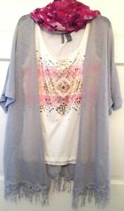 Womens Top Jacket Scarf Set New Directions Weekend 3 Pieces Gray Pink NWT M L XL