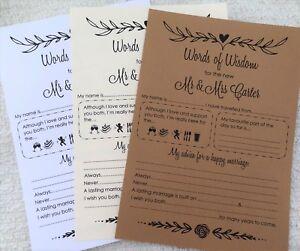 A5 Wedding Words of Wisdom Table Trivia Bride Groom Advice Game ...