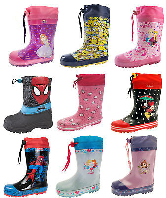 Girls Boys Tie Top Wellington Boots Snow Wellies School Rain Wellys Childrens
