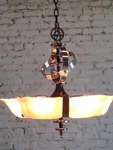 Slip Shade Art Deco 6 Light Fixture Ceiling Chandelier RESTORED CHROME PLATING