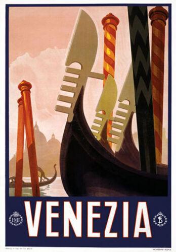 T1 Vintage 1920 Italiano Del Venezia Venecia Italia viajar Cartel volver a imprimir A4