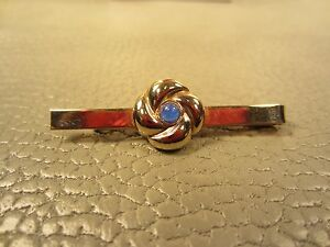 Beautiful Blue Sparkle Glass Tie Clip Tie Bar Stand Out from the Crowd with Class Vintage Gold Tone
