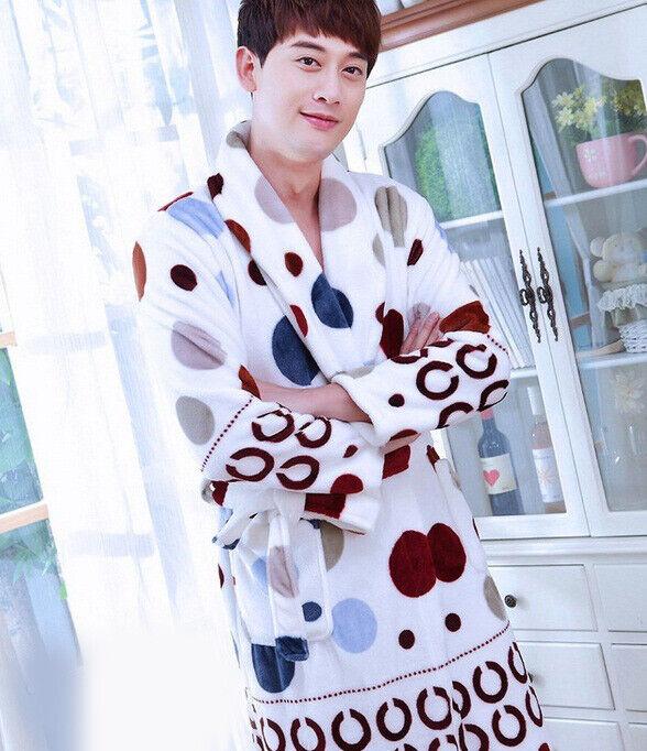 D75 Men's Winter Pleuche Pajama Fleece Bathrobe Long Sleepwear Night Robe Q