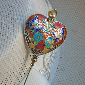 Details About Hatpin Heart Shape With Flowers And Butterflies On Gold Finish