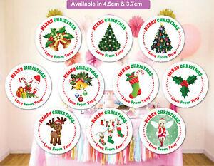 Merry-Christmas-Stickers-Label-Santa-present-Personalised-MATT-Q24-amp-35