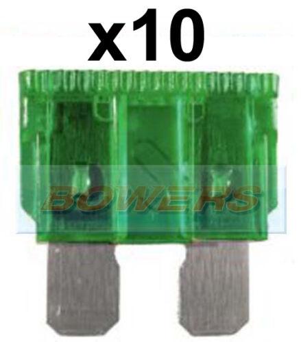 PACK OF 10 12V 24V VOLT 30A AMP GREEN STANDARD BLADE FUSES KIT CAR VAN MARINE