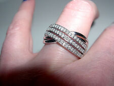 Wide Sterling Silver~Diamond Three Row Crossover Band Ring~.25CT~Sz 7.25