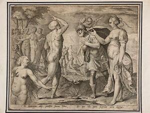 Belle-gravure-ancienne-Manieriste-Metamorphose-d-039-Ovide-Tybris-16-eme-rare