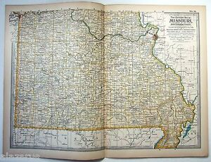 Details about 1897 Map of Southern Missouri by The Century Company.  Original Antique Map