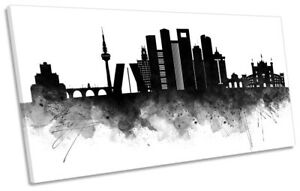 Dubai Abstract City Skyline Print PANORAMA CANVAS WALL ART Picture Black