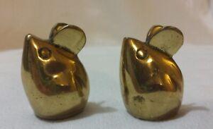 Vintage-Pair-of-Brass-Mice-Figurine-Goldtone-Mouse-Set-of-2-Statue-Art-Sculpture