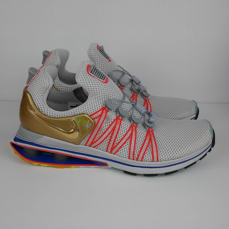 NIKE Shox Gravity Running Shoes Metallic Gold Vast Grey Men's Comfortable Cheap women's shoes women's shoes