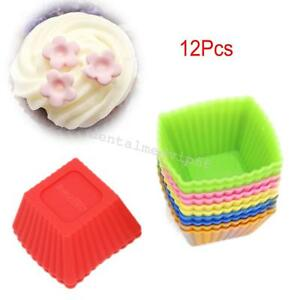 12pcs-Pack-Silicone-Mini-Square-Reusable-Cupcake-Muffin-Cup-Moulds-Cake-Molds