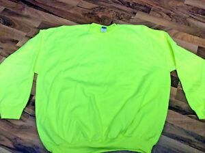 New-Mens-3XL-Construction-Bright-Neon-Yellow-High-Visibility-Work-Sweatshirt