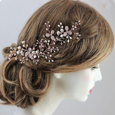 Rose Gold Wedding Hair Accessory Blush Pink & Ivory Vine wear Side or Back UK
