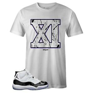 44cf3f2daed30c Men s White Crew Neck XI Sneaker T-shirt to Match Jordan Retro 11 ...