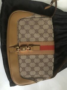 Auth-GUCCI-Brown-Shelly-Line-GG-Jackie-Hand-Bag-Brown-Canvas-Leather-EUC-Purse