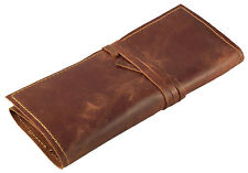 GENUINE Leather Pencil Roll Pen Case Wrap Up Brush Holder Handmade Retro Vintage