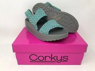 Women/'s Corky/'s Rachel Wedged Sandal Green 50-7129 X13 New